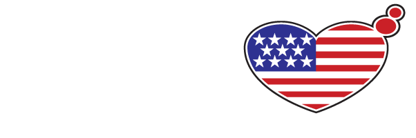 White Typeface logo with a heart shape emulating the American flag