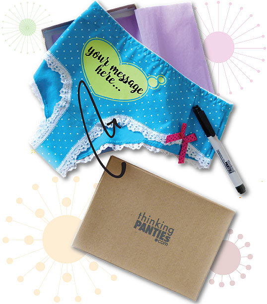 Funny panties gift ideas, a blue underwear with tiny white polkadots, a brownish gift box and a black marker on a side
