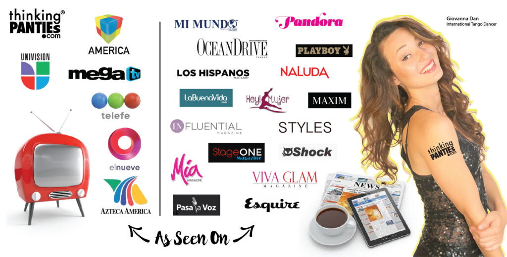 Several different logo styles and sizes from famous television networks and recognized magazines. There is female model on the right side
