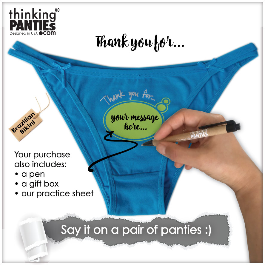 A pair of blue Brazilian bikini you can write on. A gift or souvenir as means to deliver a message. There is a hand holding a pen to indicate the use of the product.