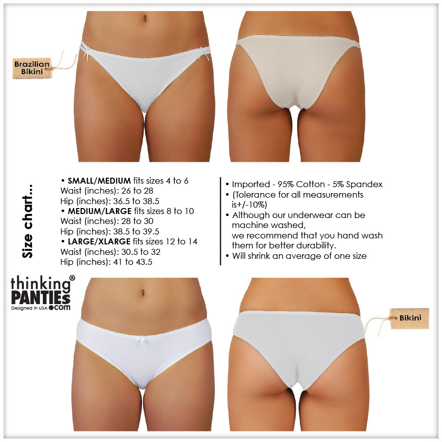 Front and back of the lower body of a model wearing two types of underwear. A bikini and a Brazilian bikini part of Thinking Panties collection. There is a size chart describing measurements