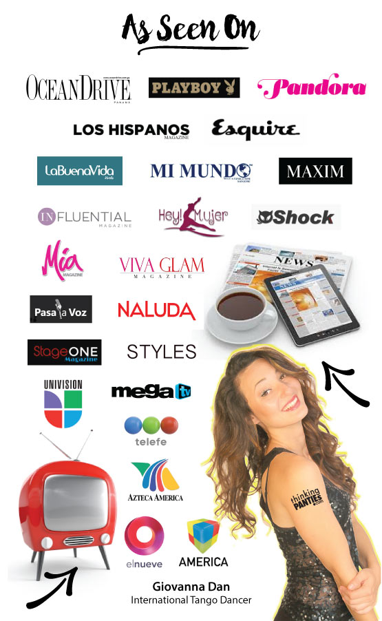 several logos of magazines and television networks with a female model on lower right corner