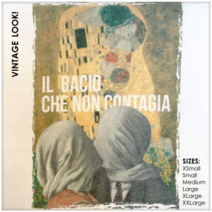 """Closeup of two superimposed images of two couples kissing. The inscription reads """"Il bacio che non contagia'"""