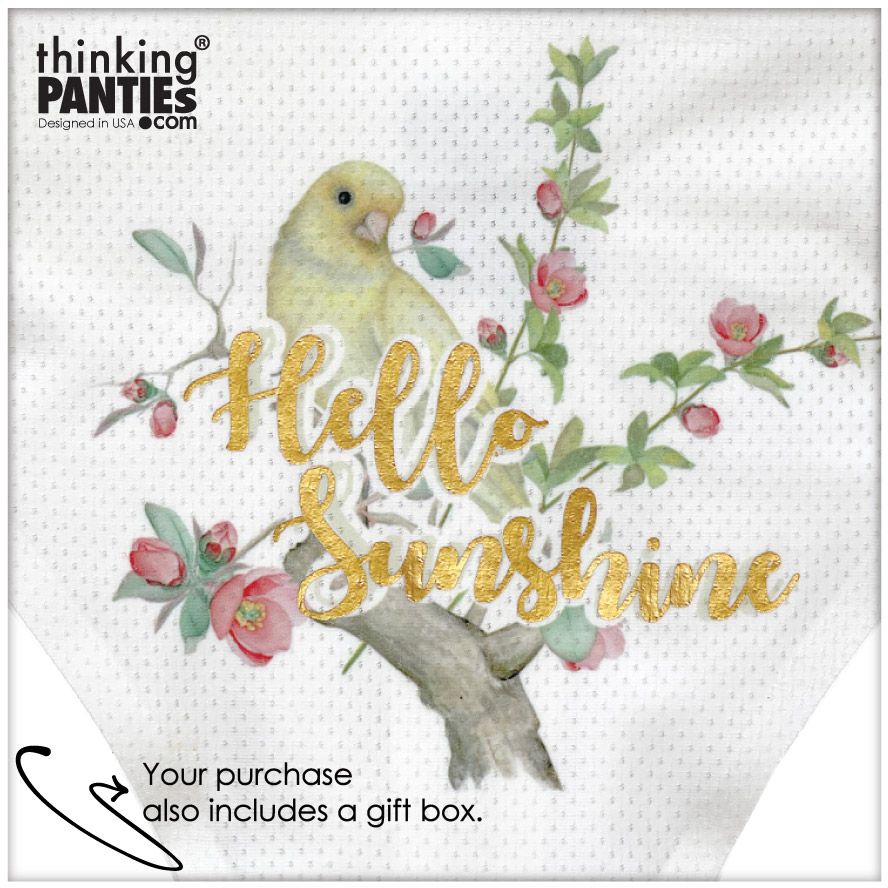 """Closeup of a pair of seamless white thong with a statement that reads """"Hello Sunshine."""" There is a watercolor illustration of a flower arrangement and a bird posed on a tree branch."""